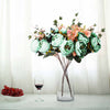 2 Bush Turquoise Peony Rose Bud And Hydrangea Real Touch Artificial Silk Peonies Bouquet