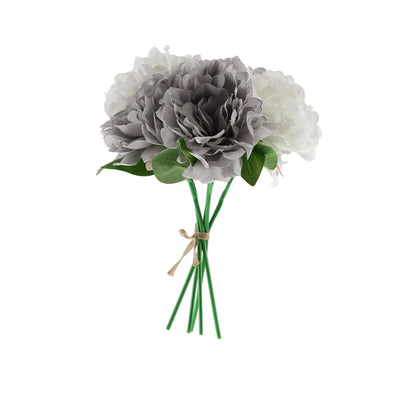"5 Heads | 11"" Tall Artificial Bush Peony Bouquet - Gray 