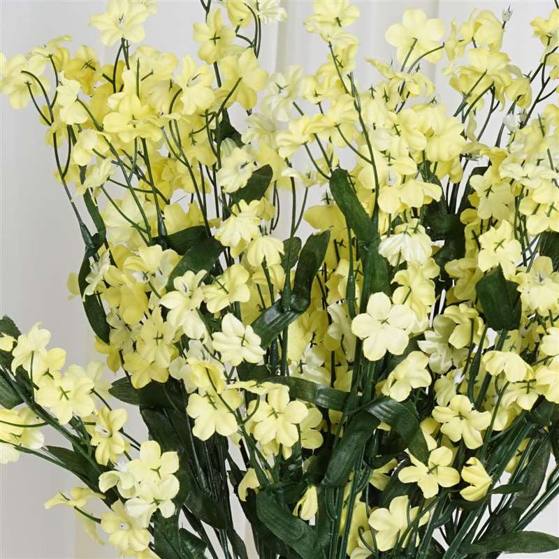 Artificial Silk Baby Breath Wedding Flower Bouquet Centerpiece Decor-Yellow-12 Stems/pk