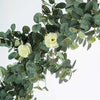 Frosted Green Faux Eucalyptus Garland, White Rose Flowers, Flower Garland Backdrop Decor