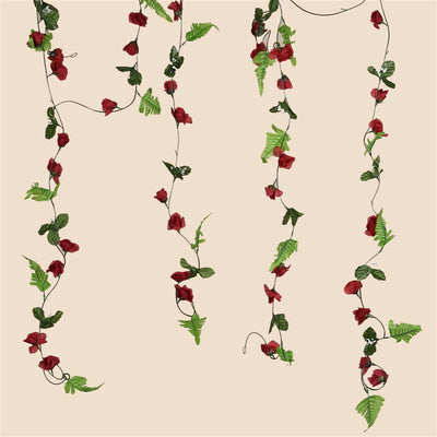 6 FT Artificial UV Protected Burgundy Rose Silk Flower Chain Garland Wedding Arch Gazebo Decor - 8 PCS