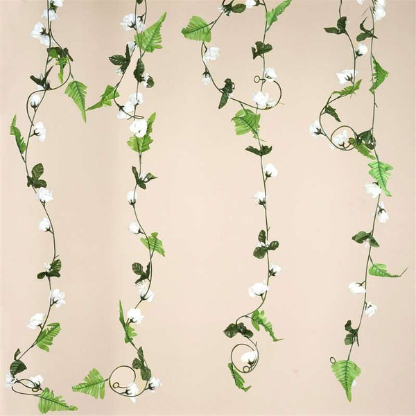 6 FT Artificial UV Protected Cream Rose Silk Flower Chain Garland Wedding Arch Gazebo Decor - 8 PCS