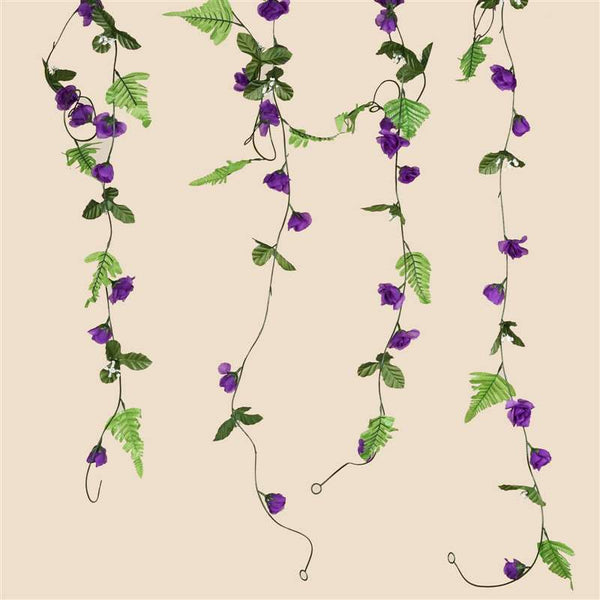 6 FT Artificial UV Protected Purple Rose Silk Flower Chain Garland Wedding Arch Gazebo Decor - 8 PCS