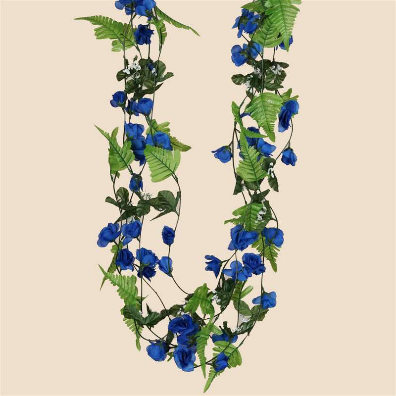 6 ft artificial uv protected royal blue rose silk flower chain blue rose silk flower chain garland wedding arch gazebo decor rose garland royal 8pk mightylinksfo