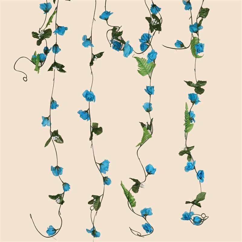 6 FT Artificial UV Protected Turquoise Rose Silk Flower Chain Garland Wedding Arch Gazebo Decor - 8 PCS