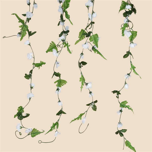 6 FT Artificial UV Protected White Rose Silk Flower Chain Garland Wedding Arch Gazebo Decor - 8 PCS
