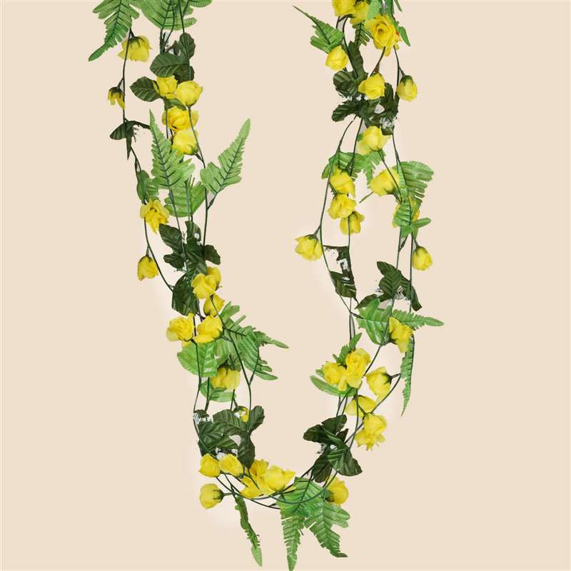 6 ft artificial uv protected yellow rose silk flower chain garland rose garland yellow 8pk mightylinksfo