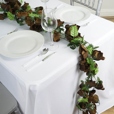 Large Rose Garland Artificial Silk Flowers - Chocolate - 4 pcs