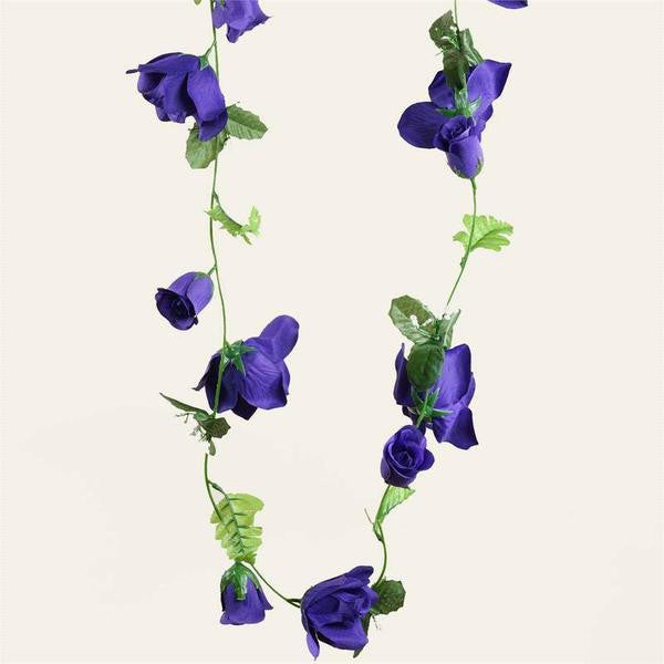 4PCS 6-FT Supersized UV Protected Purple Rose Flower Garland Chain Decor