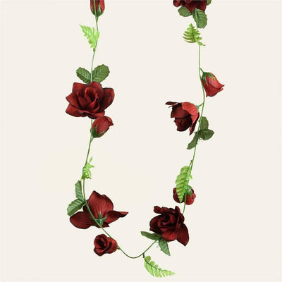 4 x Supersized Rose Garland-Black/Red
