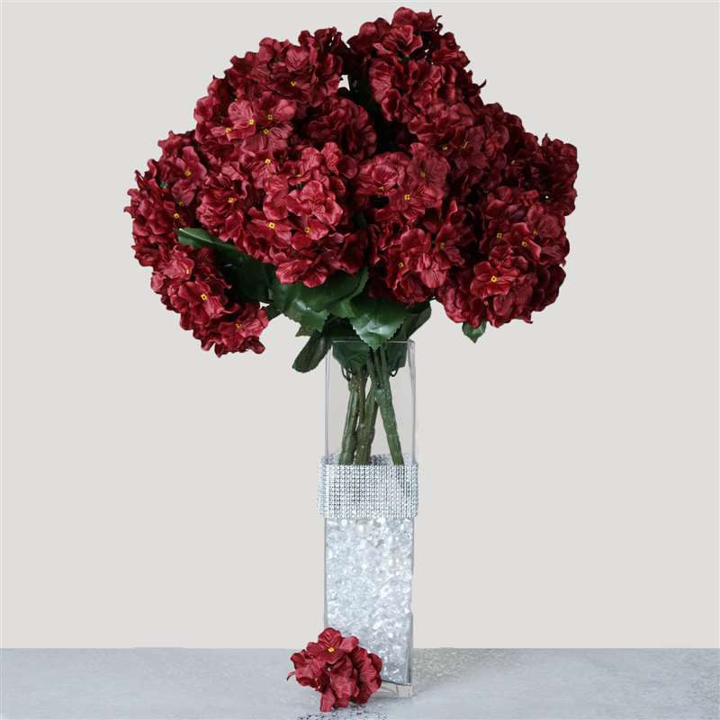 Burgundy artificial hydrangea bush wedding vase