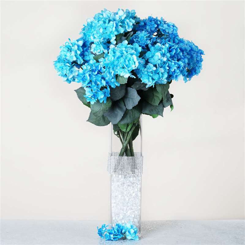 Turquoise artificial hydrangea bush wedding vase centerpiece floral turquoise artificial hydrangea bush wedding vase centerpiece floral decor 4 x turquoise hydrangea bush mightylinksfo