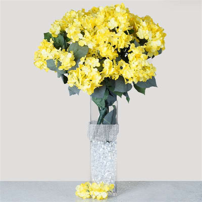 Yellow artificial hydrangea bush wedding vase centerpiece floral yellow artificial hydrangea bush wedding vase centerpiece floral decor 4 x yellow hydrangea bush mightylinksfo
