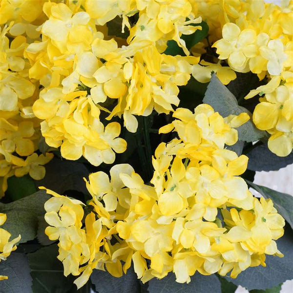 Yellow Artificial Hydrangea Bush Wedding Vase Centerpiece Floral Decor