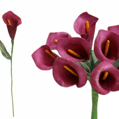 60 Artificial Burgundy Mini Calla Lily Single Stem Flower For Bouquet Craft Decoration