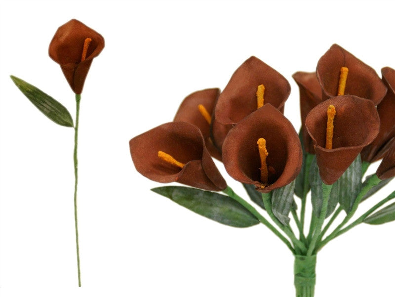60 Artificial Single Stem Mini Calla Lily Wedding Flower Bouquet Centerpiece Decor-Chocolate (Close out price / no returns or exchanges)