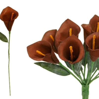 60 Artificial Chocolate Mini Calla Lily Single Stem Flower For Bouquet Craft Decoration
