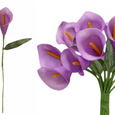 60 Single Stem Mini Calla Lily Lavender