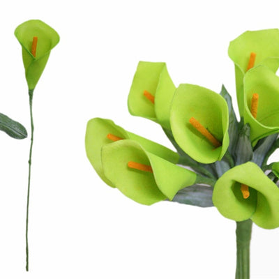 60 Artificial Lime Green Mini Calla Lily Single Stem Flower For Bouquet Craft Decoration