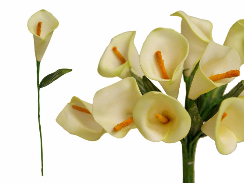 60 Artificial Single Stem Mini Calla Lily Wedding Flower Bouquet Centerpiece Decor-Light Green (CLOSEOUT PRICE.  ITEM IS NOT REFUNDABLE)