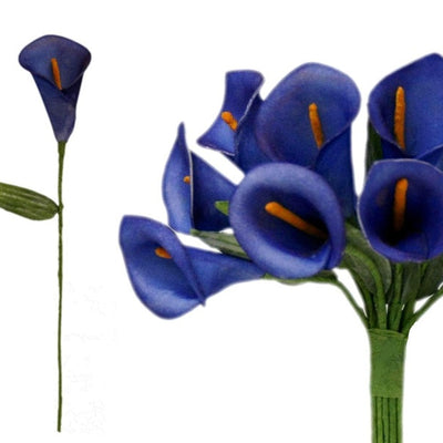 60 Artificial Navy Blue Mini Calla Lily Single Stem Flower For