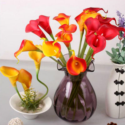 60 Artificial Orange Mini Calla Lily Single Stem Flower For Bouquet Craft Decoration