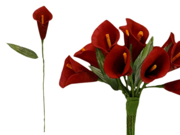 60 Artificial Red Mini Calla Lily Single Stem Flower For Bouquet Craft Decoration