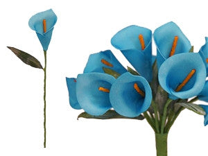 60 Artificial Turquoise Mini Calla Lily Single Stem Flower For Bouquet Craft Decoration
