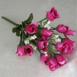 180 Artificial Silk Mini Rose Buds With Baby Breath Wedding Bouquet Vase Centerpiece Decor - Fushia