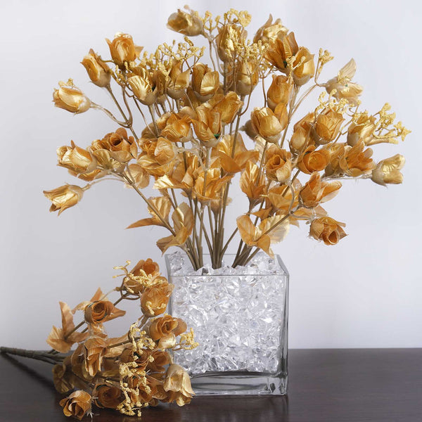 180 Artificial Silk Mini Rose Buds With Baby Breath Wedding Bouquet Vase Centerpiece Decor - Gold