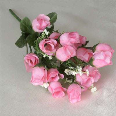 180 Artificial Silk Mini Rose Buds With Baby Breath Wedding Bouquet Vase Centerpiece Decor - Pink