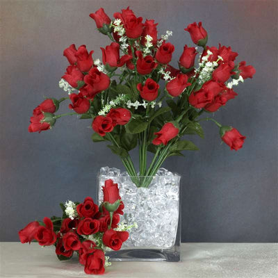 180 Artificial Silk Mini Rose Buds With Baby Breath Wedding Bouquet Vase Centerpiece Decor - Red