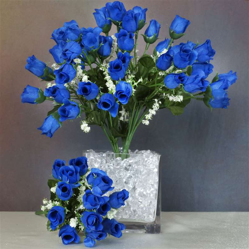 Mini rose buds royal blue pk silk flowers factory