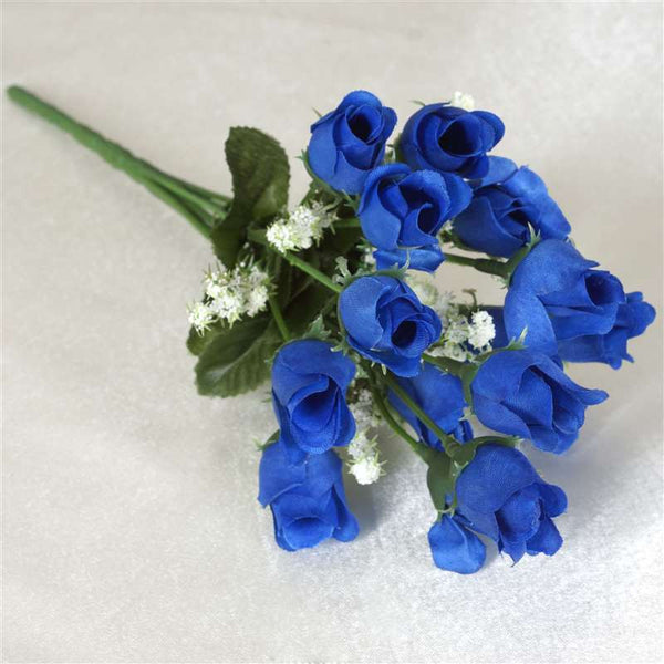 180 Artificial Silk Mini Rose Buds With Baby Breath Wedding Bouquet Vase Centerpiece Decor - Royal Blue