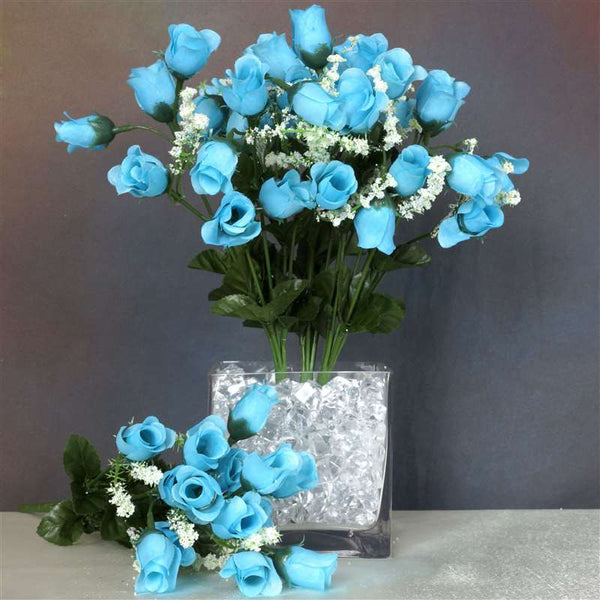 Mini Rose Buds Turquoise 252 Pk Silk Flowers Factory