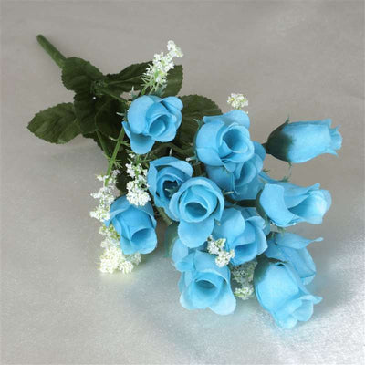 180 Artificial Silk Mini Rose Buds With Baby Breath Wedding Bouquet Vase Centerpiece Decor - Turquoise