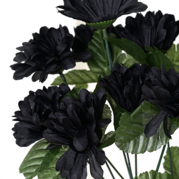 Small Chrysanthemum Bush Artificial Silk Flowers - Black