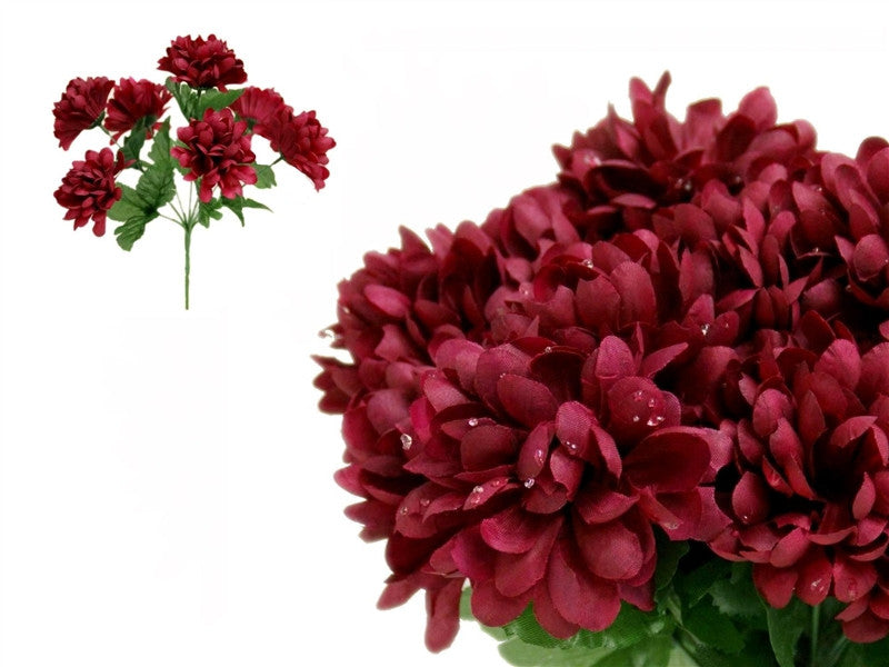 84 Artificial Silk Chrysanthemum Wedding Flower Bush Bouquet Centerpiece Decor  - Burgundy( Sold Out )