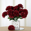 Small Chrysanthemum Bush Artificial Silk Flowers - Burgundy