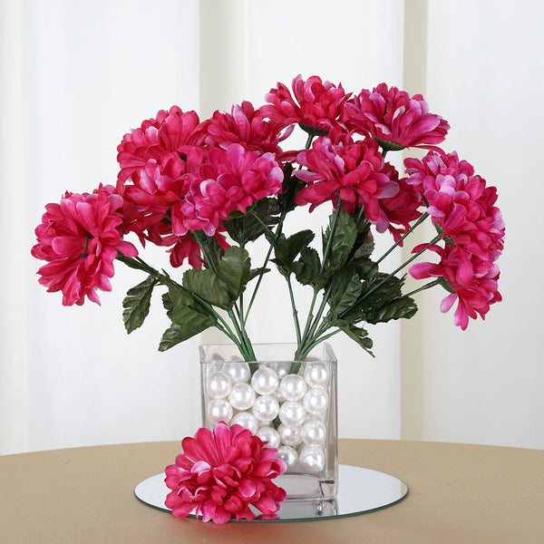Small Chrysanthemum Bush Artificial Silk Flowers - Fuchsia