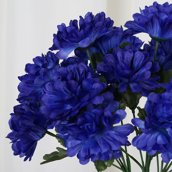 Small Chrysanthemum Bush Artificial Silk Flowers - Navy Blue