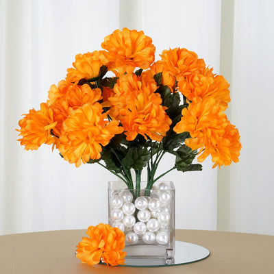 Small Chrysanthemum Bush Artificial Silk Flowers - Orange