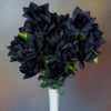 Velvet Open Rose Bush Artificial Silk Flowers - Black