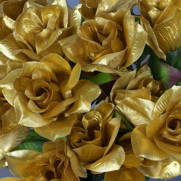 168 Artificial Gold Velvet Bloom Rose Flowers Wedding Bridal Bouquet Centerpiece Decoration