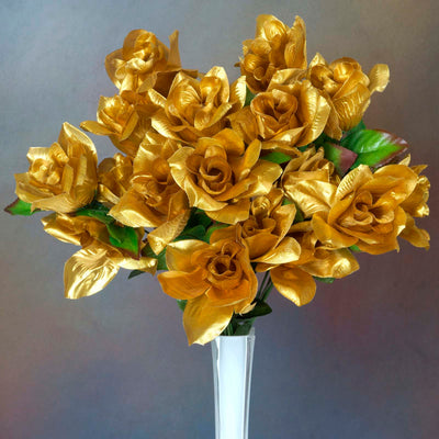 Velvet Open Rose Bush Artificial Silk Flowers - Gold