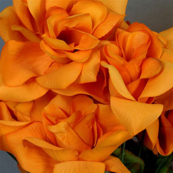 168 Artificial Orange Velvet Bloom Rose Flowers Wedding Bridal Bouquet Centerpiece Decoration