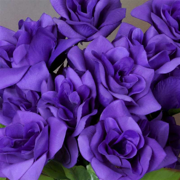 Velvet Open Rose Bush Artificial Silk Flowers - Purple