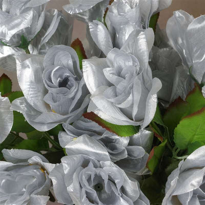 168 Artificial Silver Velvet Bloom Rose Flowers Wedding Bridal Bouquet Centerpiece Decoration
