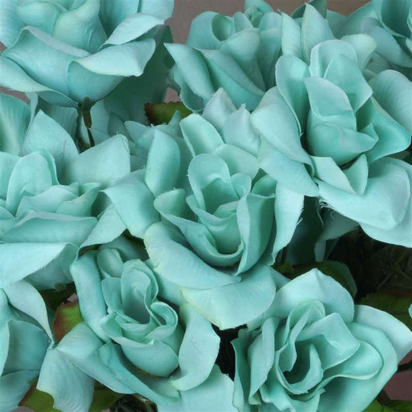 Velvet Open Rose Bush Artificial Silk Flowers - Turquoise
