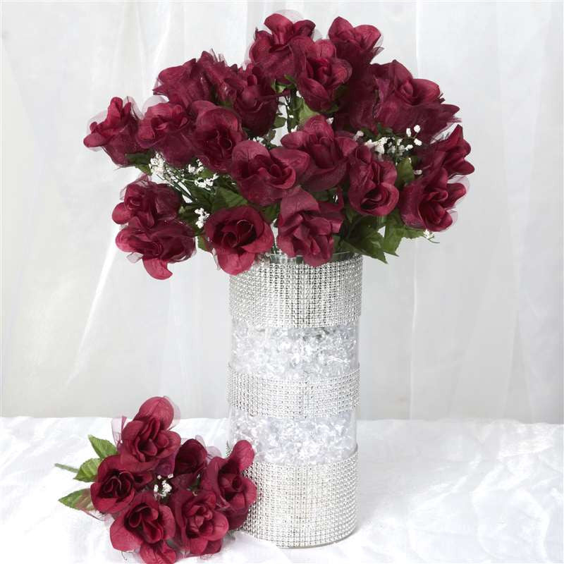 84 Organza Rose Buds - Burgundy | Silk Flowers Factory